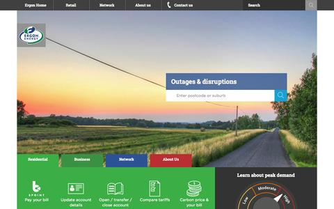 Screenshot of Home Page ergon.com.au - Ergon Energy - Home - captured Sept. 19, 2014