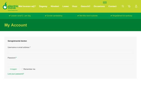 Screenshot of Signup Page electricmove.nl - My Account - ElectricMove - captured July 23, 2017