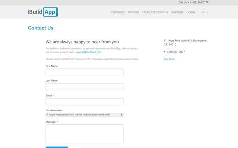 Screenshot of Contact Page ibuildapp.com - Contact Client Support iBuildApp.com - captured July 4, 2016