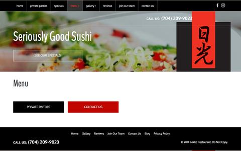 Screenshot of Menu Page nikkosushibar.net - Dinner Menu - Seriously Good Sushi In Charlotte | Nikko Japanese Restaurant - captured Dec. 3, 2017