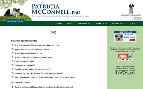 Screenshot of FAQ Page patriciamcconnell.com - Patricia McConnell | Dog Training | Frequently Asked Questions | McConnell Publishing Inc. - captured Sept. 22, 2018