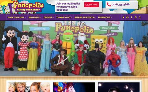 Screenshot of Home Page funopolisfamilyfuncenter.com - Funopolis Family Fun Center | Commerce, GA - captured Aug. 4, 2016