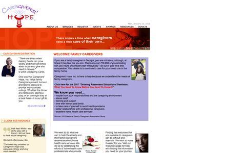 Screenshot of Home Page caregivers-hope.org - Caregivers' Hope :: Planned Respite Services for Elderly Caregivers - captured Jan. 25, 2016