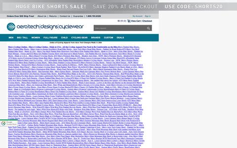 Screenshot of Site Map Page aerotechdesigns.com - Index of Cycling Apparel from Aero Tech Designs Made in USA - captured Sept. 4, 2016