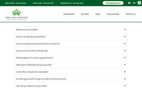 Screenshot of FAQ Page maplefamilydentistry.com - FAQ | Maple Family Dentistry - captured Sept. 20, 2018