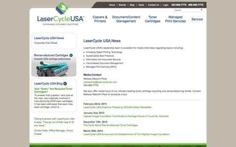 Screenshot of Press Page lasercycleusa.com - LaserCycle USA News, Sustainable Document News - captured Sept. 29, 2014