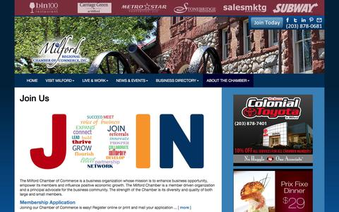 Screenshot of About Page milfordct.com - Milford Regional Chamber of Commerce, Inc.   Milford, CT   - captured Jan. 7, 2017