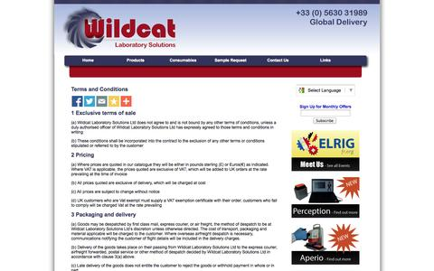 Screenshot of Terms Page wildcatlaboratorysolutions.com - Wildcat Laboratory Solutions Terms and Conditions - captured Oct. 29, 2014