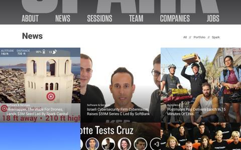 Screenshot of Press Page sparkcapital.com - News | Spark Capital - captured Nov. 6, 2015