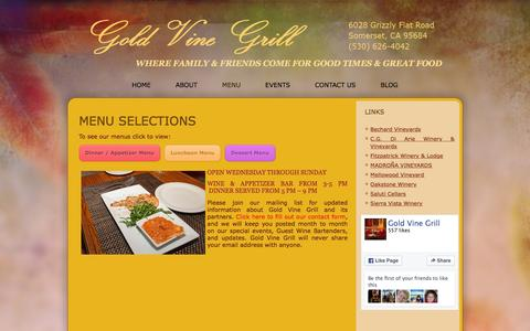 Screenshot of Menu Page goldvinegrill.com - Menu - where family & friends come for good times & great food - captured March 5, 2016