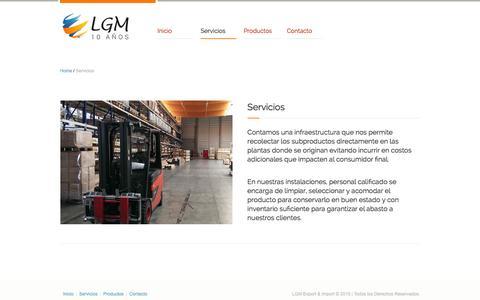Screenshot of Services Page lgmcommerce.com - Servicios - LGM Export & Import - captured Jan. 23, 2016