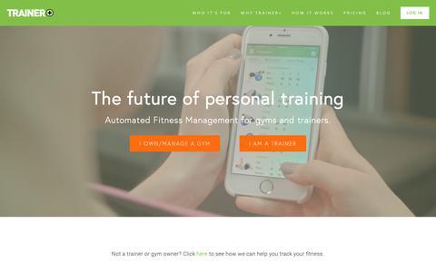 Screenshot of Home Page trainerpl.us - Trainer+ - captured Nov. 18, 2018