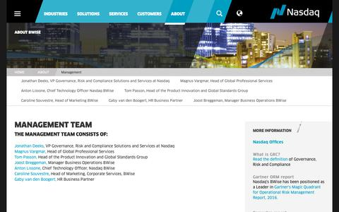 Screenshot of Team Page bwise.com - Management Team - captured Dec. 3, 2018