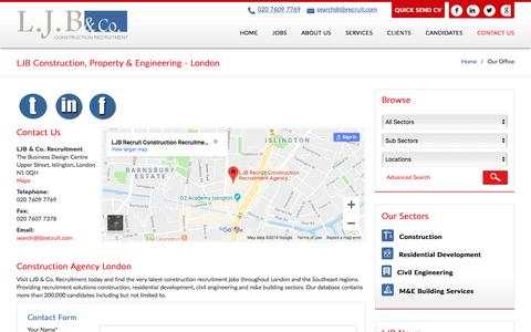Screenshot of Contact Page ljbrecruit.com - Construction & Engineering Recruitment Agency London | London Construction Recruitment Office | Ljbrecruit.co.uk - captured Sept. 25, 2018