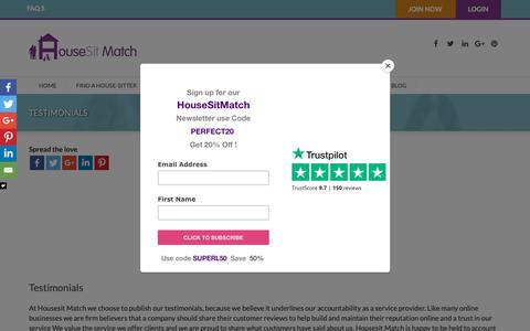 Screenshot of Testimonials Page housesitmatch.com - HousesitMatch customer testimonials are published on Trustpilot - captured Sept. 30, 2018