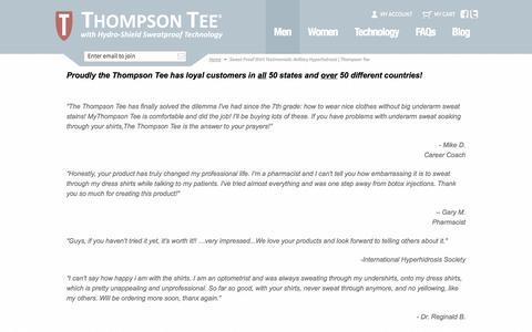 Screenshot of Testimonials Page thompsontee.com - Sweat Proof Shirt Testimonials: Axillary Hyperhidrosis   Thompson Tee - captured Nov. 5, 2014