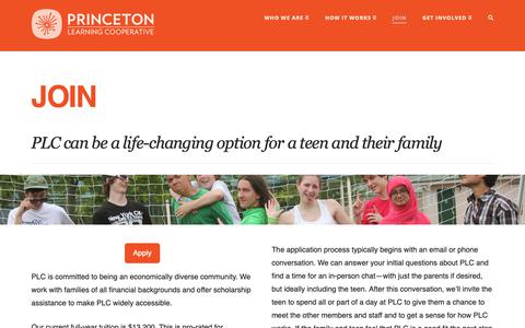 Screenshot of Signup Page princetonlearningcooperative.org - Join - Princeton Learning Cooperative | An alternative to school for teens - captured Nov. 5, 2018