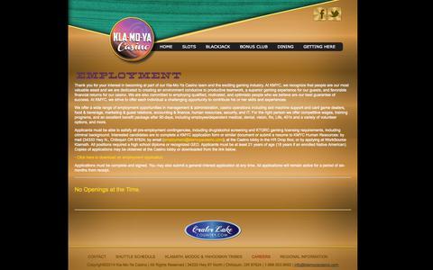 Screenshot of Jobs Page klamoyacasino.com - Klamoya Casino - Employment - captured Sept. 30, 2014