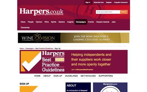 Screenshot of Signup Page harpers.co.uk - SIGN UP | Best Practice Guidelines - captured Nov. 1, 2014