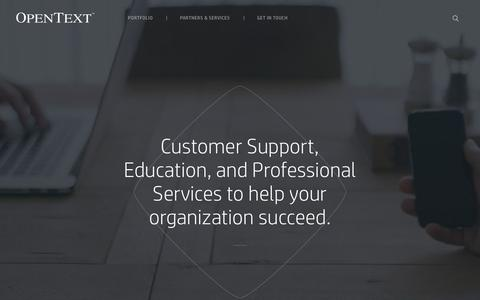 Screenshot of Services Page opentext.com - Partners & Services | OpenText - captured March 26, 2017