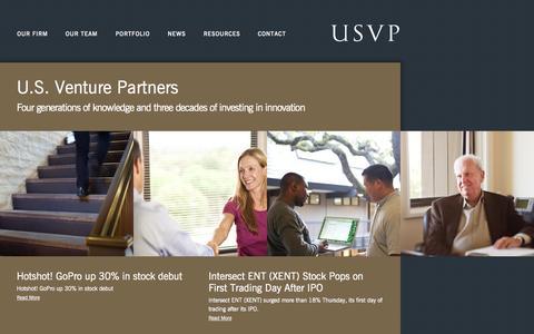 Screenshot of Home Page usvp.com - US Venture Partners - Home - captured Sept. 19, 2014