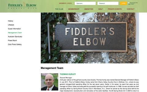 Screenshot of Team Page fiddlerselbowcc.com - Management Team - Fiddlers Elbow Country Club 2015 - captured Feb. 10, 2016