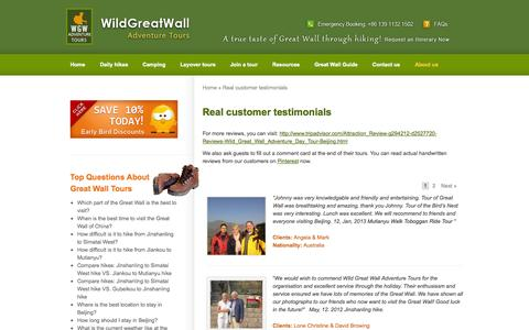 Screenshot of Testimonials Page wildgreatwall.com - Real customer testimonials - Wild Great Wall Adventures Tours- Hiking & Camping Guide - captured Oct. 7, 2014