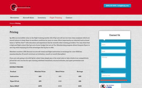 Screenshot of Pricing Page fly5g.com - Pricing | 5g Aviation - captured Oct. 7, 2014