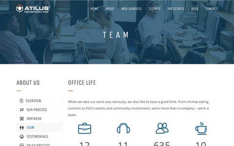 Screenshot of Team Page atilus.com - Atilus Web Design & Development | Our Team - captured Jan. 17, 2018