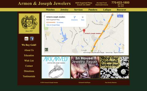 "Screenshot of Contact Page Maps & Directions Page armenjoseph.com - Contact Armen & Joseph Jewelers     ""Gwinnett's Fine Jeweler Since 1957"" - captured Oct. 4, 2014"