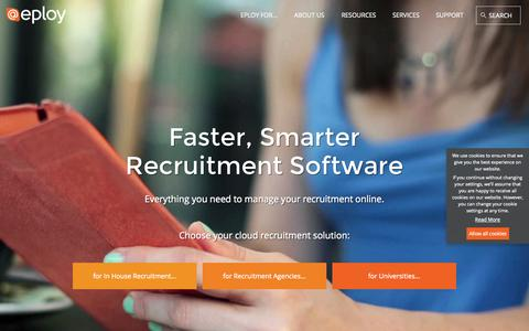 Screenshot of Home Page eploy.co.uk - Eploy Recruitment Software - ATS & CRM | Eploy Recruitment Software - captured Jan. 23, 2015