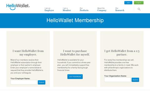 Screenshot of Signup Page hellowallet.com - HelloWallet Membership - HelloWallet - captured July 20, 2014