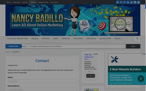 Screenshot of Contact Page nancybadillo.com - Contact Us - Need To Contact Us Fill Out The Form Below | Nancy Badillo - captured Jan. 21, 2016