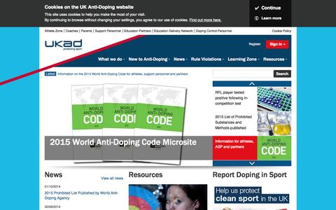 Screenshot of Home Page ukad.org.uk - UK Anti-Doping - Protecting the right to participate in clean sport - captured Oct. 3, 2014