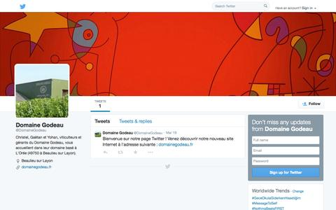Screenshot of Twitter Page twitter.com - Domaine Godeau (@DomaineGodeau) | Twitter - captured Oct. 23, 2014