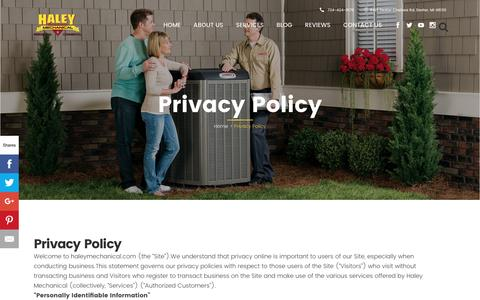 Screenshot of Privacy Page haleymechanical.com - Privacy Policy Haley Mechanical - captured July 9, 2016