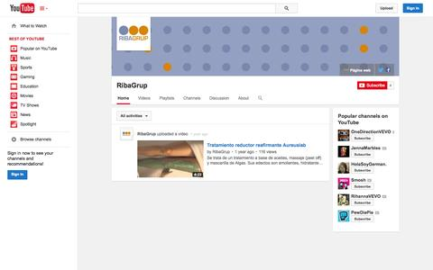Screenshot of YouTube Page youtube.com - RibaGrup  - YouTube - captured Oct. 25, 2014