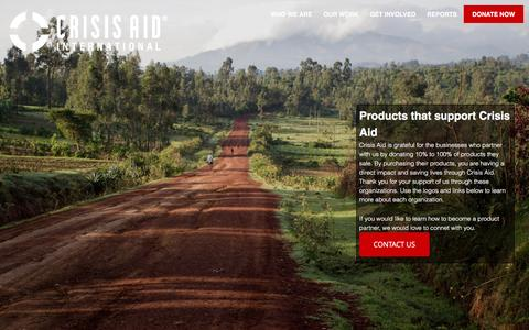 Screenshot of Products Page crisisaid.org - Shop Products and Support Crisis Aid Today - captured Nov. 14, 2016