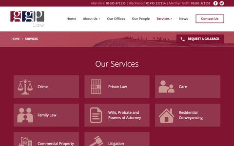 Screenshot of Services Page ggplaw.co.uk - Services - GGP Law - captured Oct. 23, 2018