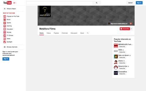 Screenshot of YouTube Page youtube.com - Metáfora Films  - YouTube - captured Nov. 3, 2014