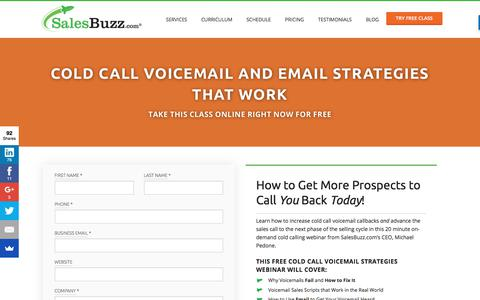 Screenshot of Trial Page salesbuzz.com - Cold Call Voicemail and Email Strategies That Work - Online Sales Training - captured June 25, 2017