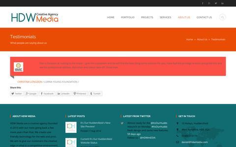 Screenshot of Testimonials Page hdwmedia.com - Testimonials | HDW Media - captured Oct. 27, 2014
