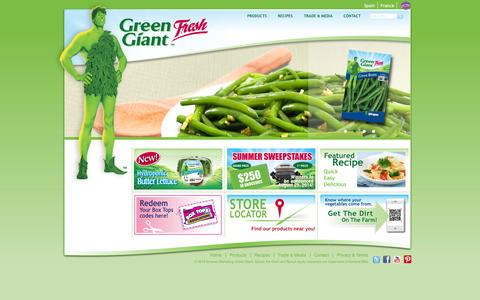 Screenshot of Home Page greengiantfresh.com - Green Giant | Green Giant Fresh US - captured Sept. 30, 2014