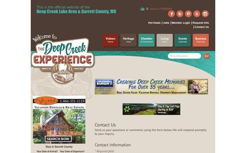 Screenshot of Contact Page visitdeepcreek.com - Contact Us - Garrett County Chamber of Commerce, MD - captured Oct. 22, 2017