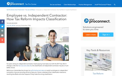 Screenshot of Press Page intuit.com - Employee vs. Independent Contractor: How Tax Reform Impacts Classification | Tax Pro Center | Intuit ProConnect - captured Nov. 21, 2019