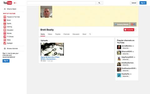 Screenshot of YouTube Page youtube.com - Brett Beatty  - YouTube - captured Nov. 4, 2014