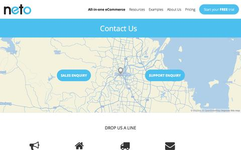 Screenshot of Contact Page neto.com.au - Contact Us - captured Oct. 26, 2014