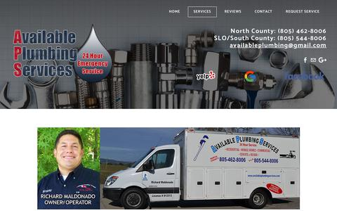 Screenshot of Services Page availableplumbingservices.com - Services - captured July 31, 2018