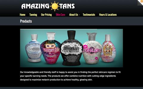 Screenshot of Products Page amazingtans.com - Products - captured Oct. 4, 2014