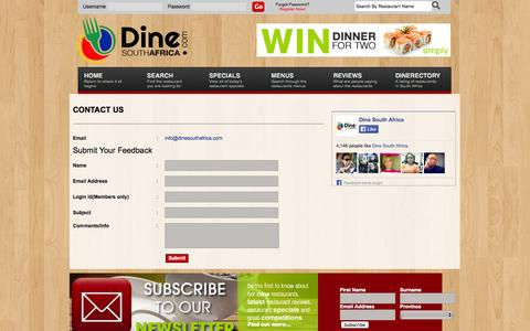 Screenshot of Contact Page dinesouthafrica.com - Contact Us - DineSouthAfrica.com :: South Africa's Premier Online Restaurant Guide - captured Oct. 5, 2014